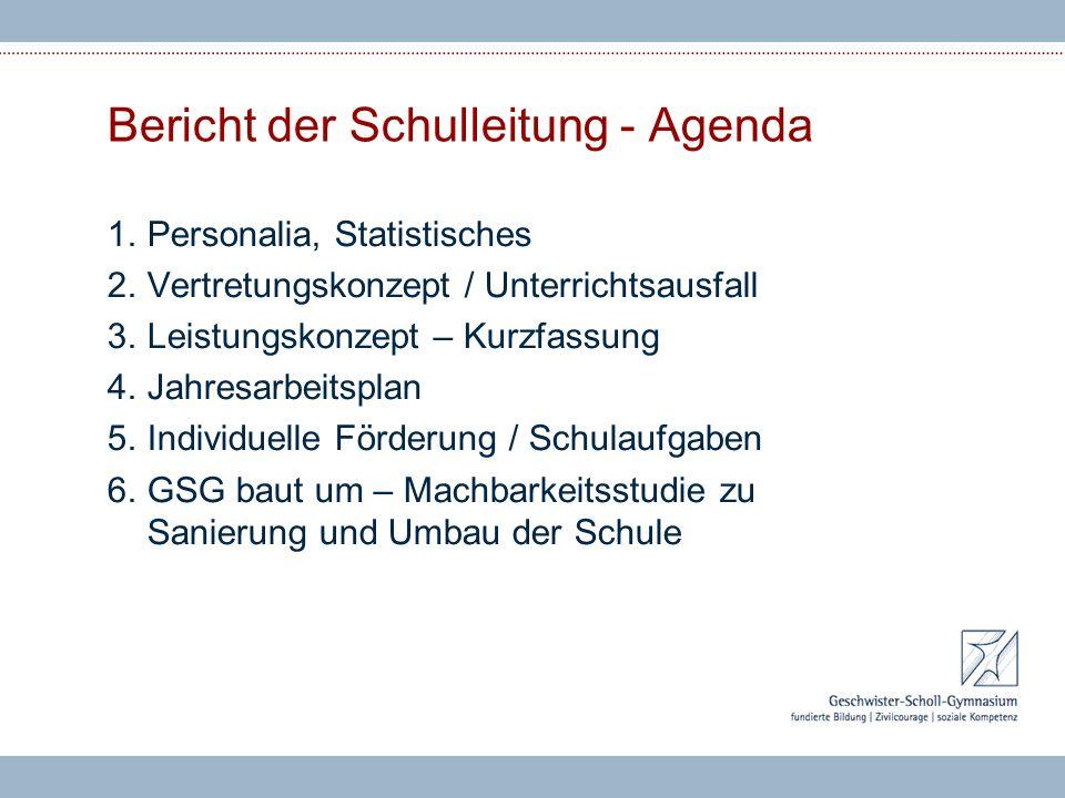Bericht der Schulleitung - Agenda 1.Personalia, Statistisches 2.Vertretungskonzept / Unterrichtsausfall 3.Leistungskonzept – Kurzfassung 4.Jahresarbei
