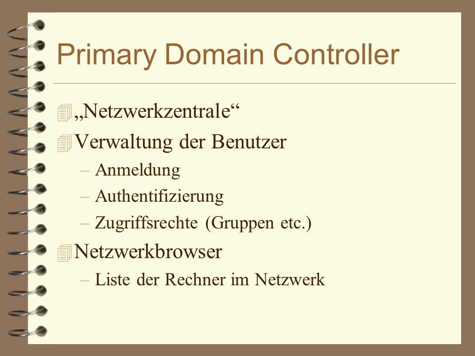 """Primary Domain Controller 4 """"Netzwerkzentrale 4 Verwaltung der Benutzer –Anmeldung –Authentifizierung –Zugriffsrechte (Gruppen etc.) 4 Netzwerkbrowser –Liste der Rechner im Netzwerk"""