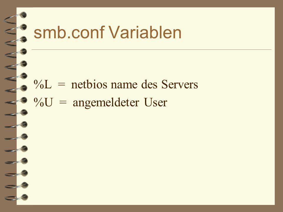 smb.conf Variablen %L = netbios name des Servers %U = angemeldeter User