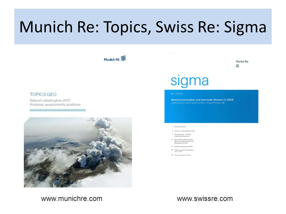 Different definitions of disasters: Motivation Munich Re Em-Dat SwissRe