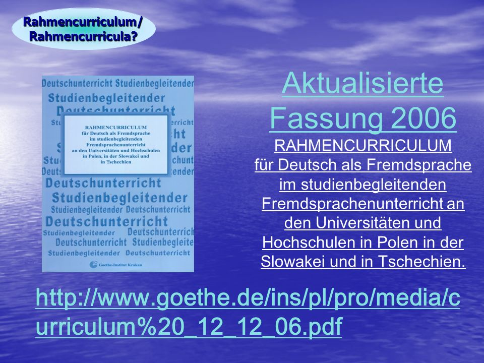 Rahmencurriculum/ Rahmencurricula.