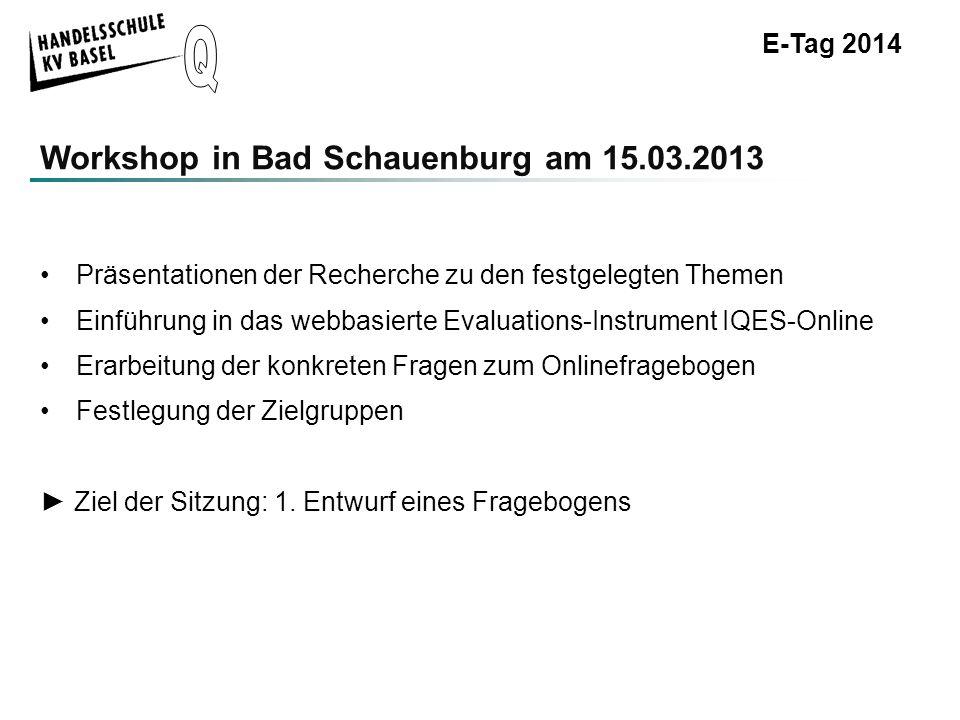 E-Tag 2014 Workshop in Bad Schauenburg am 15.03.2013 Ergebnisse 1.Erster Entwurf, kurze Erklärung des IQES-Online-Fragebogens inkl.