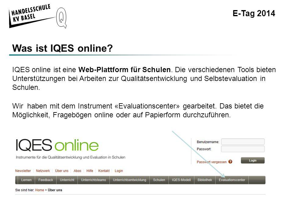 E-Tag 2014 IQES-Online-BefragungWorkshops