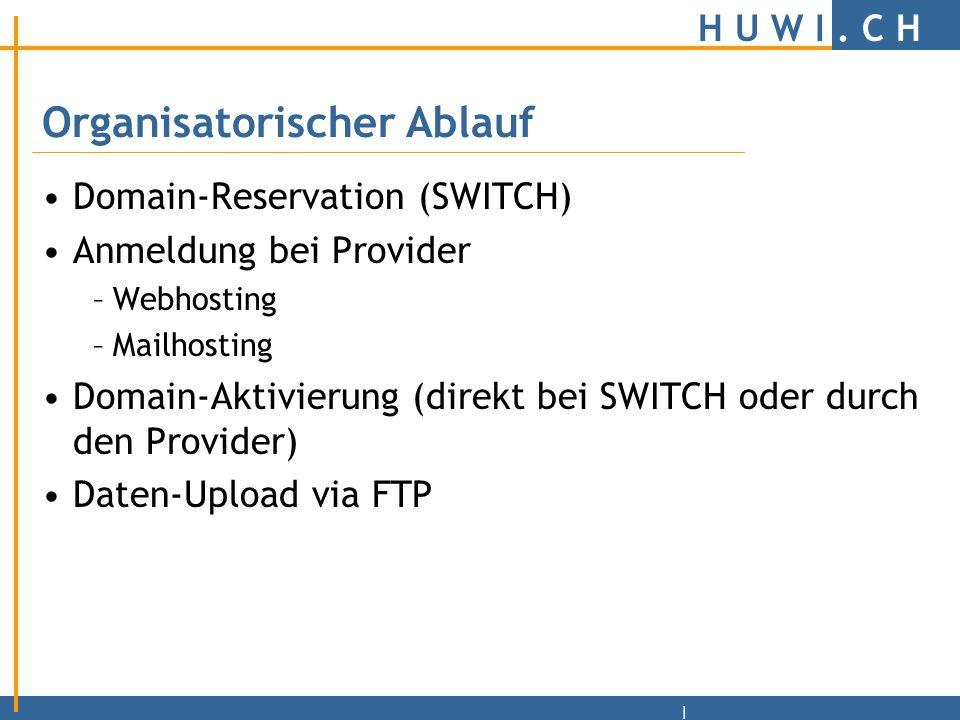 H U W I. C H |Webserver Auswahl des Hosters