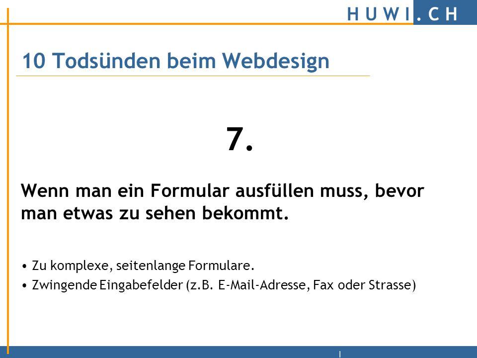 H U W I.C H | 10 Todsünden beim Webdesign 6.