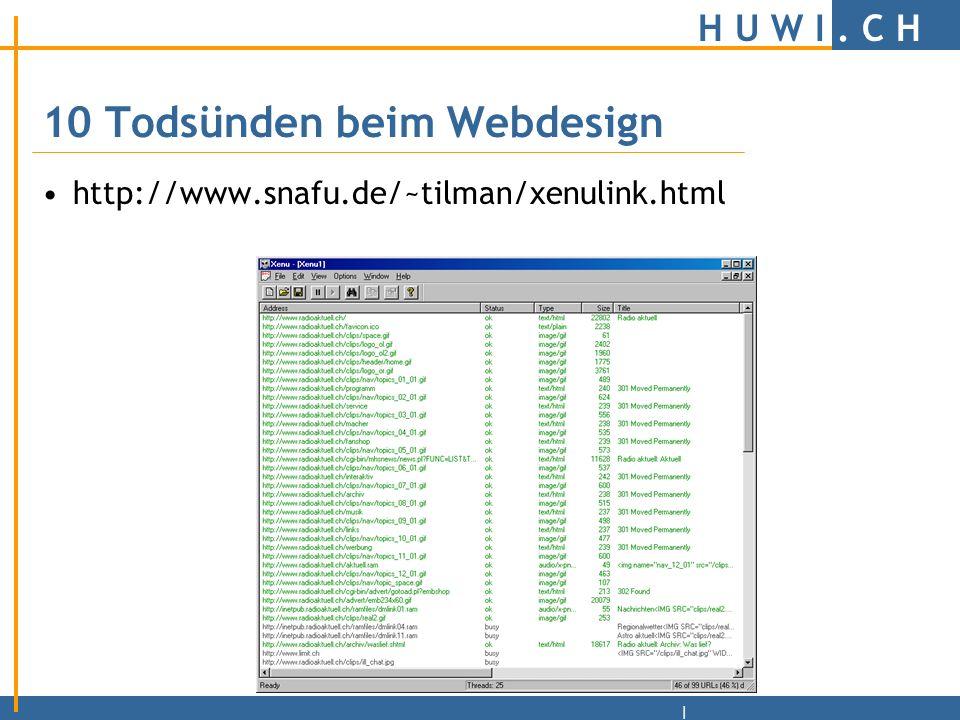 H U W I.C H | 10 Todsünden beim Webdesign 10.