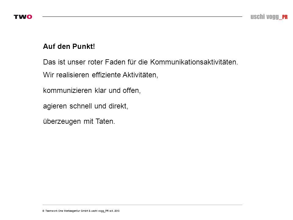 © Teamwork One Werbeagentur GmbH & uschi vogg_PR e.K. 2013 Jetzt geht´s los.
