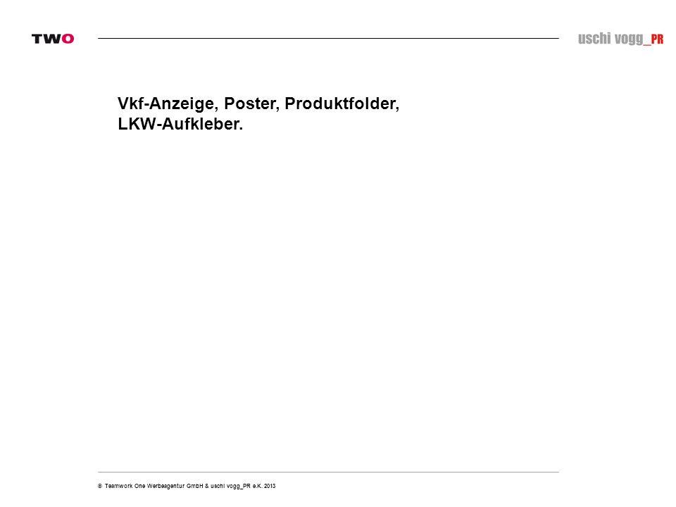 Vkf-Anzeige, Poster, Produktfolder, LKW-Aufkleber.