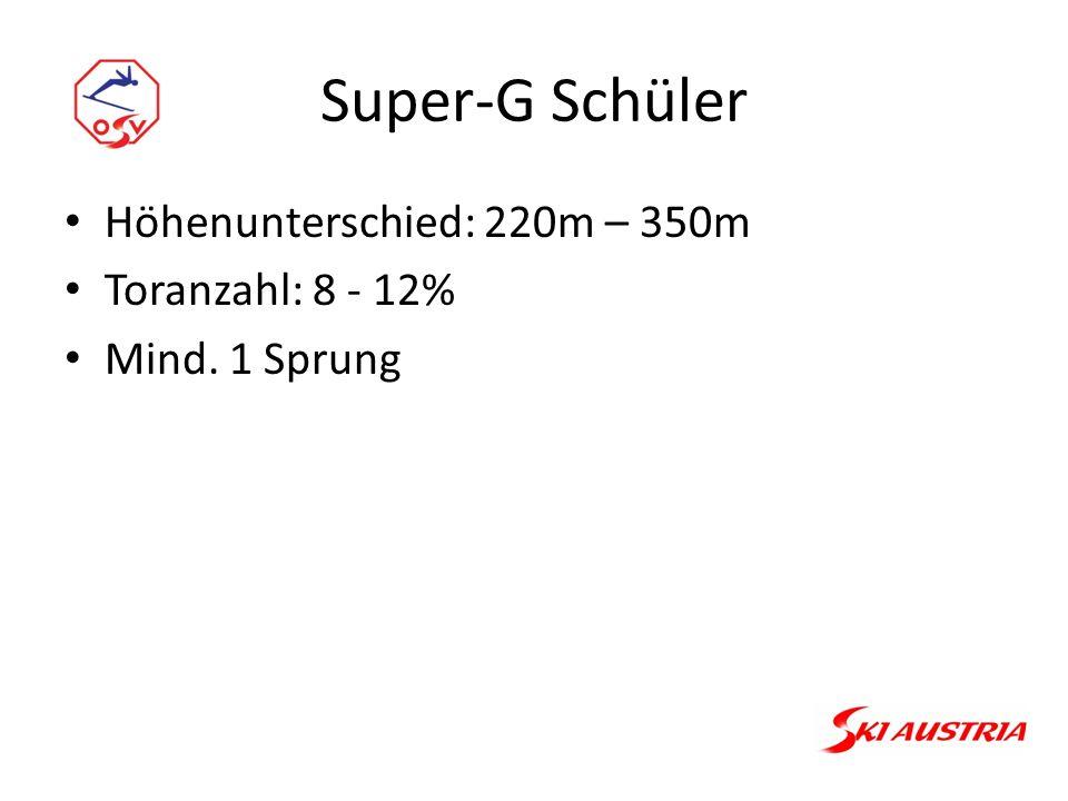Super-G Schüler Höhenunterschied: 220m – 350m Toranzahl: 8 - 12% Mind. 1 Sprung