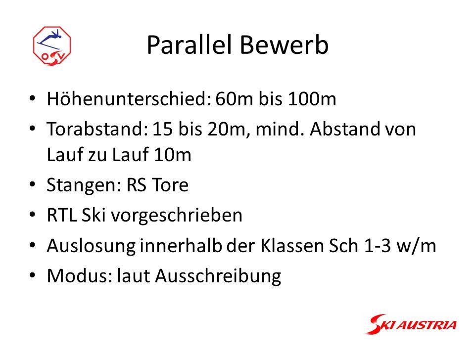 Parallel Bewerb Höhenunterschied: 60m bis 100m Torabstand: 15 bis 20m, mind.