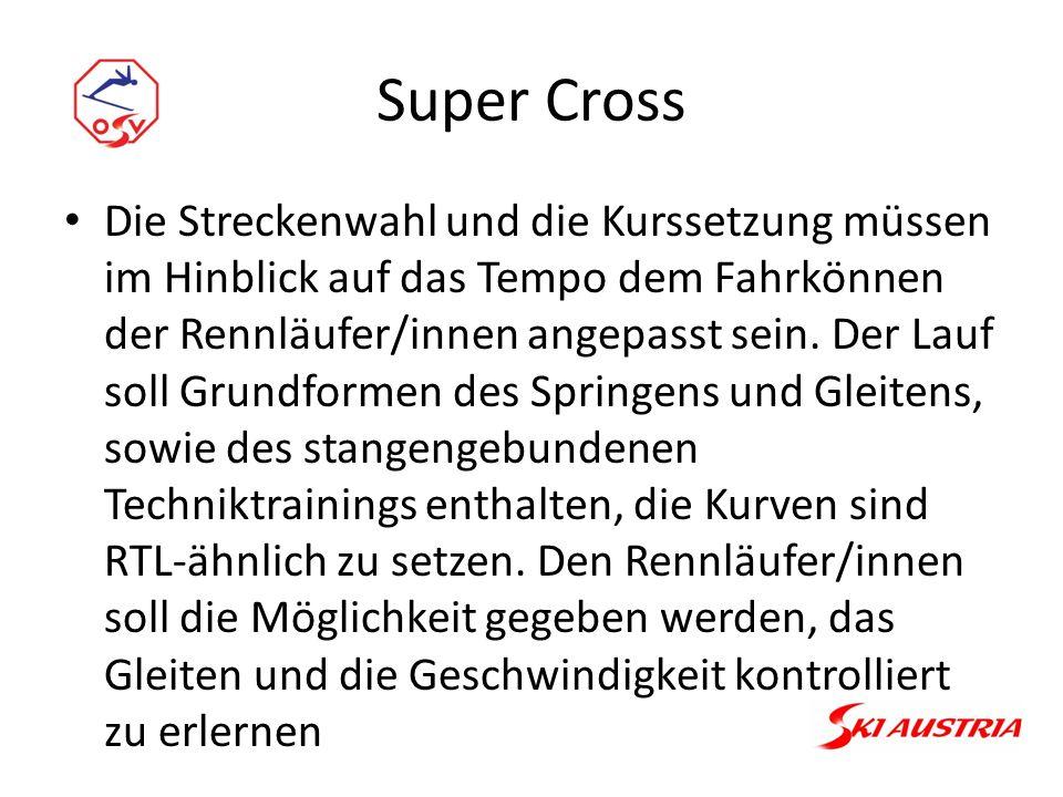 Super Cross Die Streckenwahl und die Kurssetzung müssen im Hinblick auf das Tempo dem Fahrkönnen der Rennläufer/innen angepasst sein.