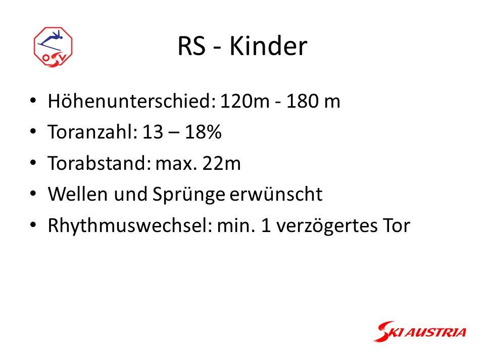 RS - Kinder Höhenunterschied: 120m - 180 m Toranzahl: 13 – 18% Torabstand: max.