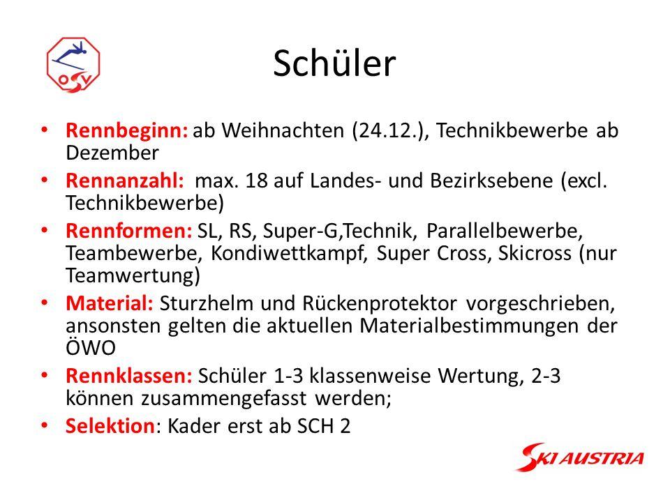 Schüler Rennbeginn: ab Weihnachten (24.12.), Technikbewerbe ab Dezember Rennanzahl: max.