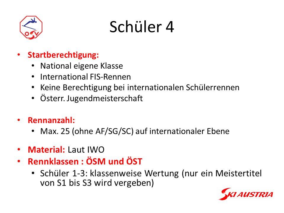 Schüler 4 Startberechtigung: National eigene Klasse International FIS-Rennen Keine Berechtigung bei internationalen Schülerrennen Österr.