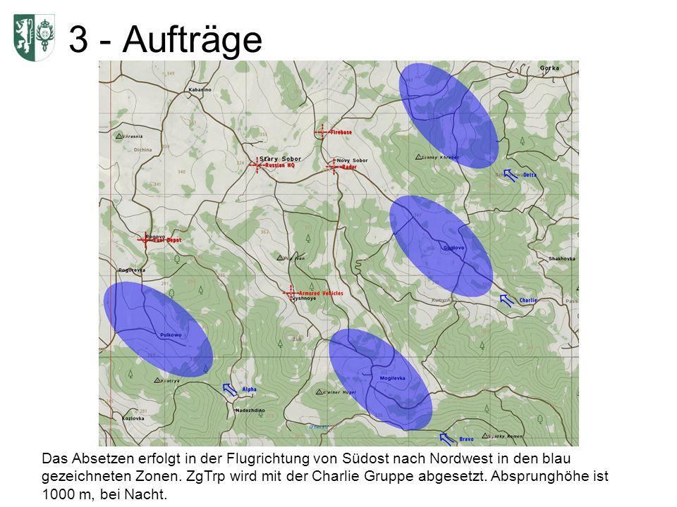 3 - Aufträge Das Absetzen erfolgt in der Flugrichtung von Südost nach Nordwest in den blau gezeichneten Zonen. ZgTrp wird mit der Charlie Gruppe abges