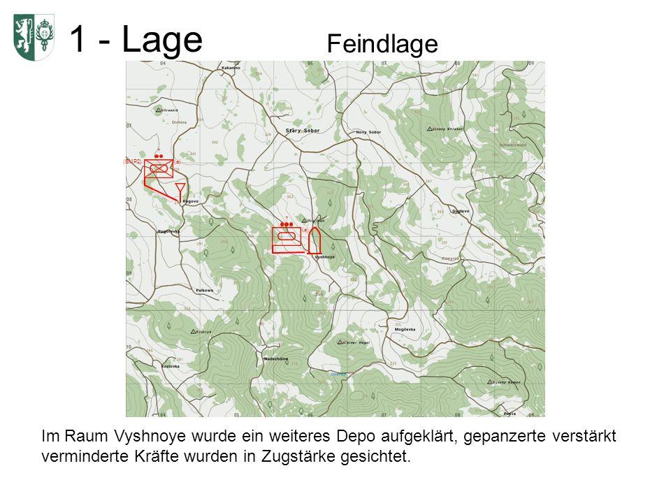 1 - Lage Feindlage Im Raum Vyshnoye wurde ein weiteres Depo aufgeklärt, gepanzerte verstärkt verminderte Kräfte wurden in Zugstärke gesichtet. (±) ? (