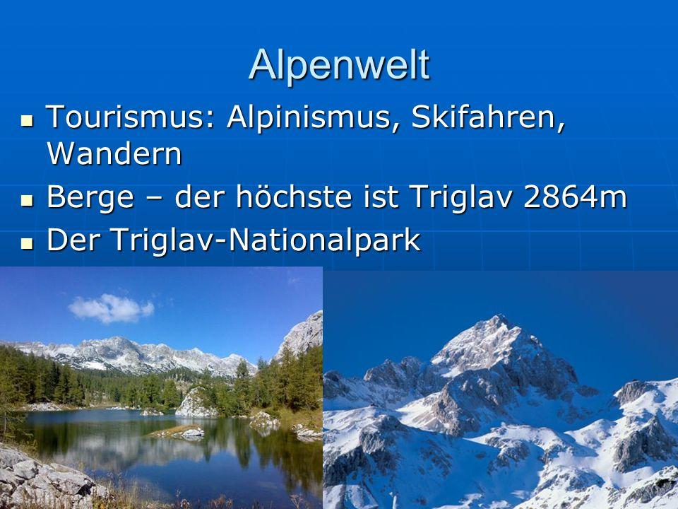 Alpenwelt Tourismus: Alpinismus, Skifahren, Wandern Tourismus: Alpinismus, Skifahren, Wandern Berge – der höchste ist Triglav 2864m Berge – der höchst