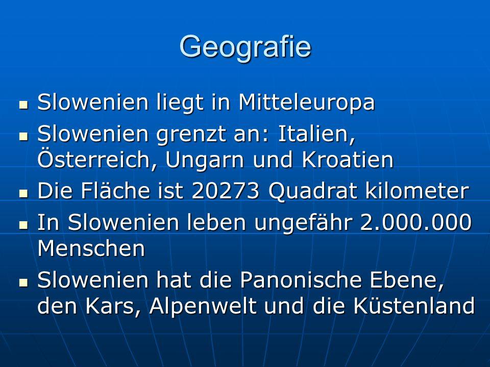 Geografie Slowenien liegt in Mitteleuropa Slowenien liegt in Mitteleuropa Slowenien grenzt an: Italien, Österreich, Ungarn und Kroatien Slowenien gren