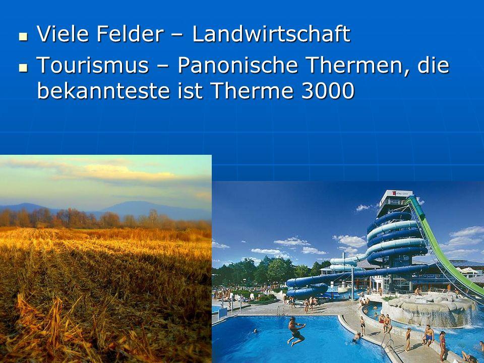 Viele Felder – Landwirtschaft Viele Felder – Landwirtschaft Tourismus – Panonische Thermen, die bekannteste ist Therme 3000 Tourismus – Panonische The