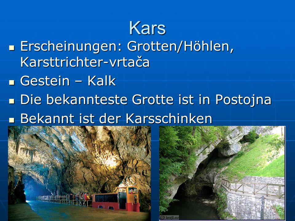 Kars Erscheinungen: Grotten/Höhlen, Karsttrichter-vrtača Erscheinungen: Grotten/Höhlen, Karsttrichter-vrtača Gestein – Kalk Gestein – Kalk Die bekannt