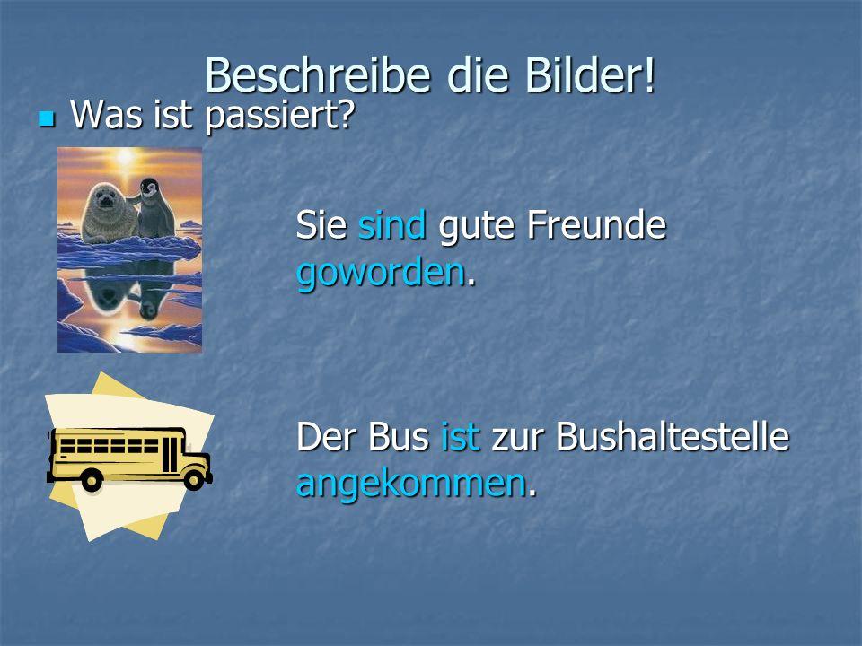 Beschreibe die Bilder! Was ist passiert? Sie sind gute Freunde goworden. Der Bus ist zur Bushaltestelle angekommen.