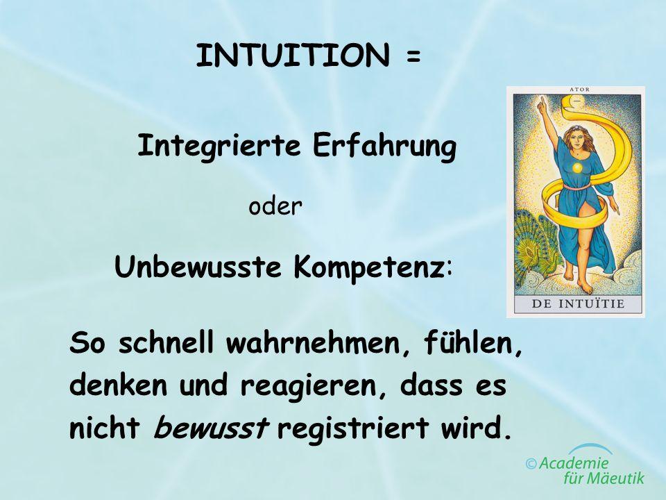 INTUITION = Unbewusste Kompetenz: So schnell wahrnehmen, fühlen, denken und reagieren, dass es nicht bewusst registriert wird. Integrierte Erfahrung o