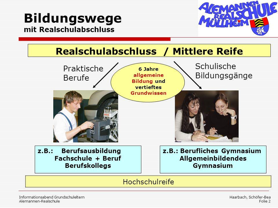 Haarbach, Schöfer-Bea Folie 2 Informationsabend Grundschuleltern Alemannen-Realschule Praktische Berufe Schulische Bildungsgänge Realschulabschluss /
