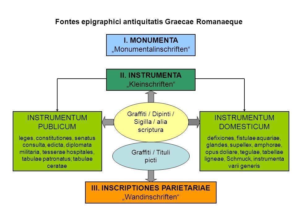 """Fontes epigraphici antiquitatis Graecae Romanaeque I. MONUMENTA """"Monumentalinschriften"""" II. INSTRUMENTA """"Kleinschriften"""" INSTRUMENTUM DOMESTICUM defix"""