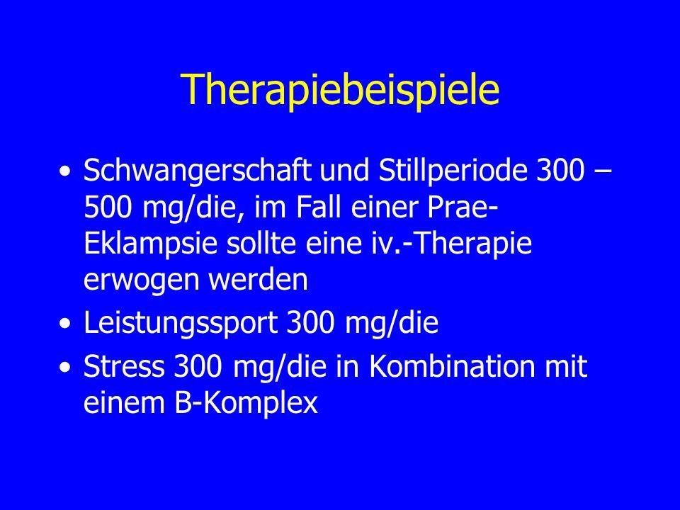 Therapiebeispiele Schwangerschaft und Stillperiode 300 – 500 mg/die, im Fall einer Prae- Eklampsie sollte eine iv.-Therapie erwogen werden Leistungssp