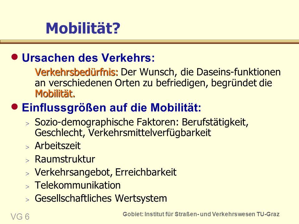 Gobiet: Institut für Straßen- und Verkehrswesen TU-Graz VG 6 Mobilität.