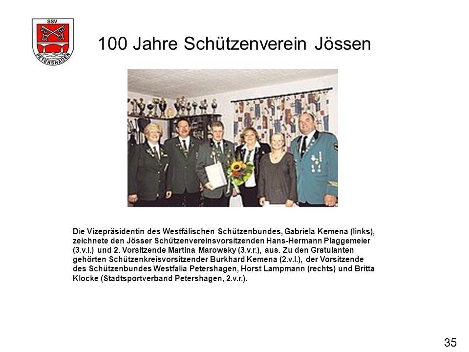 100 Jahre Schützenverein Jössen 35 Die Vizepräsidentin des Westfälischen Schützenbundes, Gabriela Kemena (links), zeichnete den Jösser Schützenvereins