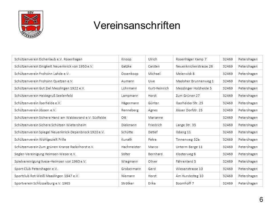 Vereinsanschriften 6 Schützenverein Eichenlaub e.V. RosenhagenKnoopUlrichRosenhäger Kamp 732469Petershagen Schützenverein Einigkeit Neuenknick von 195