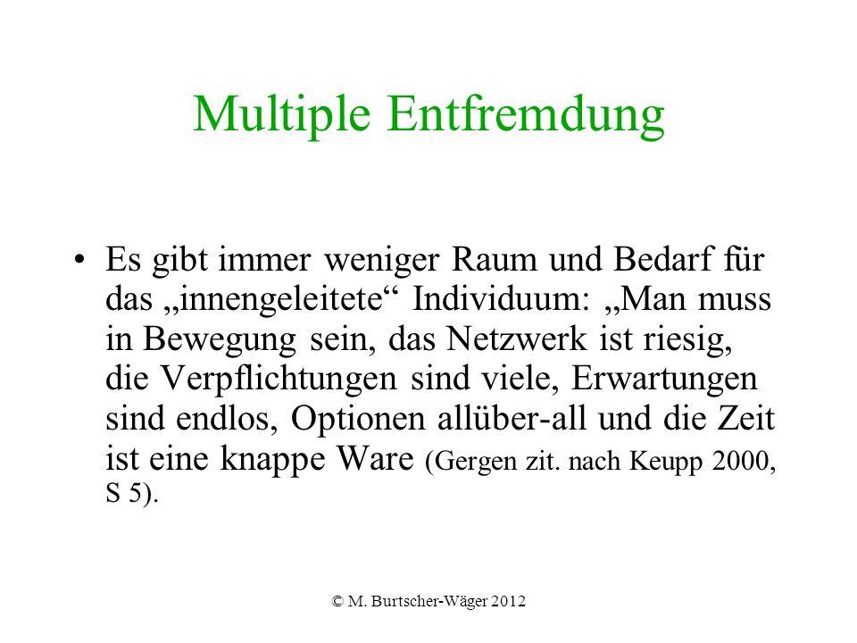 """© M. Burtscher-Wäger 2012 Multiple Entfremdung Es gibt immer weniger Raum und Bedarf für das """"innengeleitete"""" Individuum: """"Man muss in Bewegung sein,"""