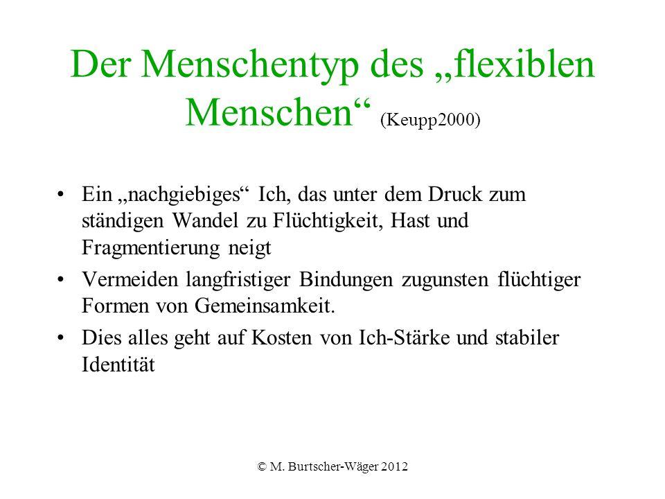 """© M. Burtscher-Wäger 2012 Der Menschentyp des """"flexiblen Menschen"""" (Keupp2000) Ein """"nachgiebiges"""" Ich, das unter dem Druck zum ständigen Wandel zu Flü"""