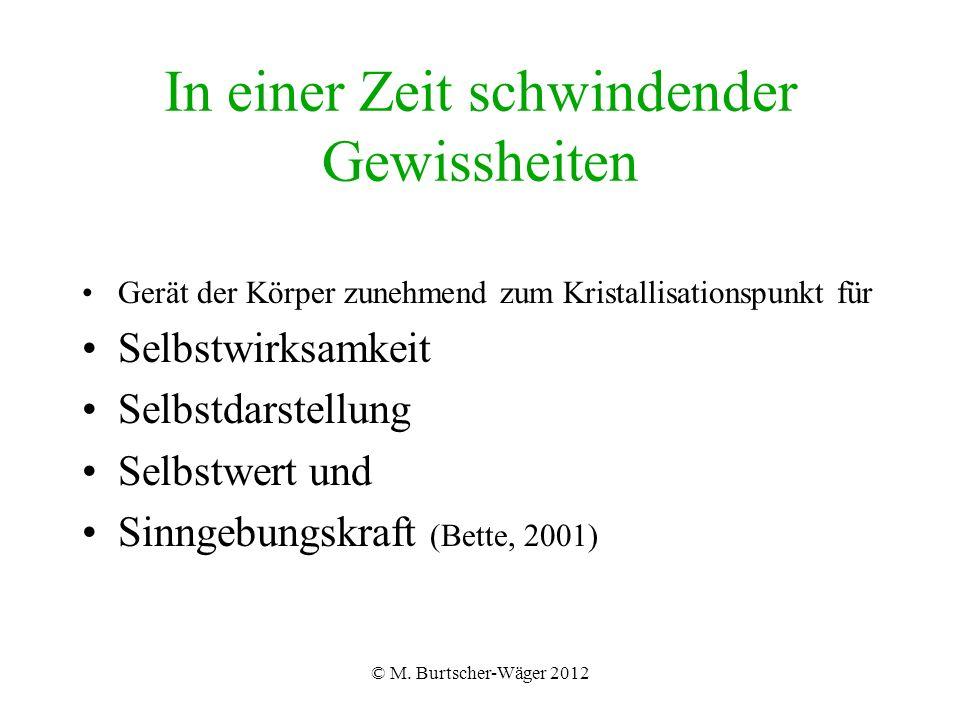© M. Burtscher-Wäger 2012 In einer Zeit schwindender Gewissheiten Gerät der Körper zunehmend zum Kristallisationspunkt für Selbstwirksamkeit Selbstdar