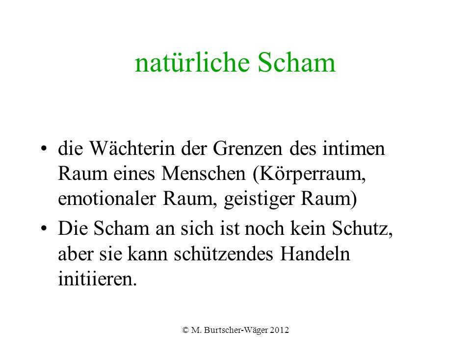 © M. Burtscher-Wäger 2012 natürliche Scham die Wächterin der Grenzen des intimen Raum eines Menschen (Körperraum, emotionaler Raum, geistiger Raum) Di