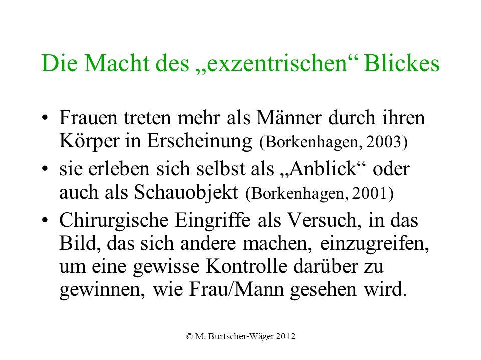 """© M. Burtscher-Wäger 2012 Die Macht des """"exzentrischen"""" Blickes Frauen treten mehr als Männer durch ihren Körper in Erscheinung (Borkenhagen, 2003) si"""