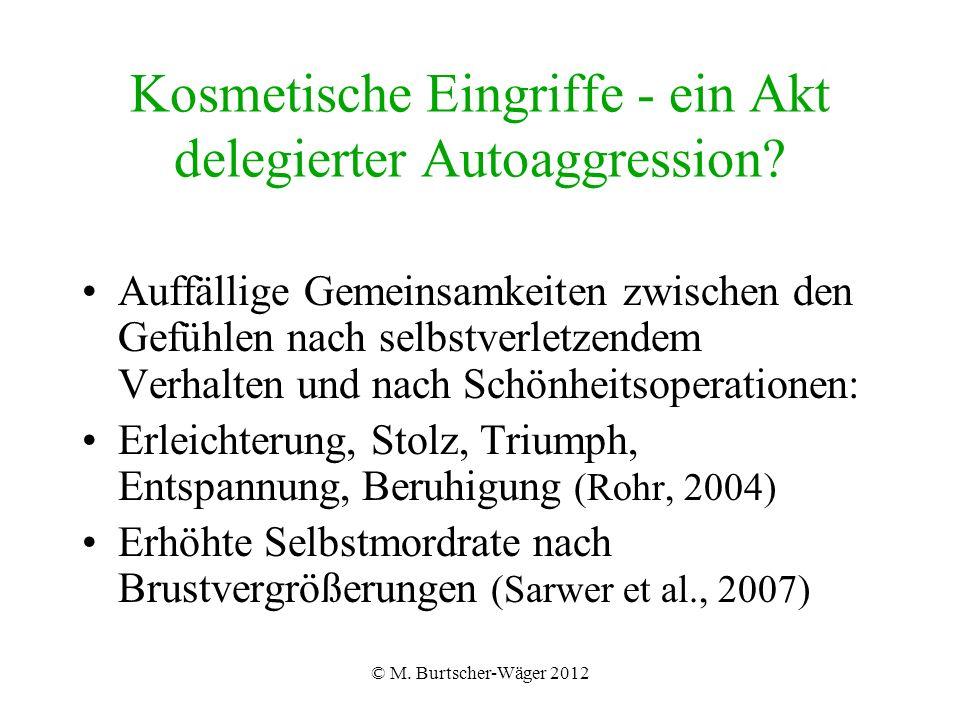 © M. Burtscher-Wäger 2012 Kosmetische Eingriffe - ein Akt delegierter Autoaggression.