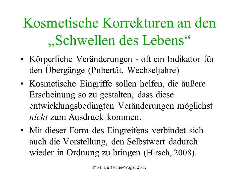 """© M. Burtscher-Wäger 2012 Kosmetische Korrekturen an den """"Schwellen des Lebens"""" Körperliche Veränderungen - oft ein Indikator für den Übergänge (Puber"""