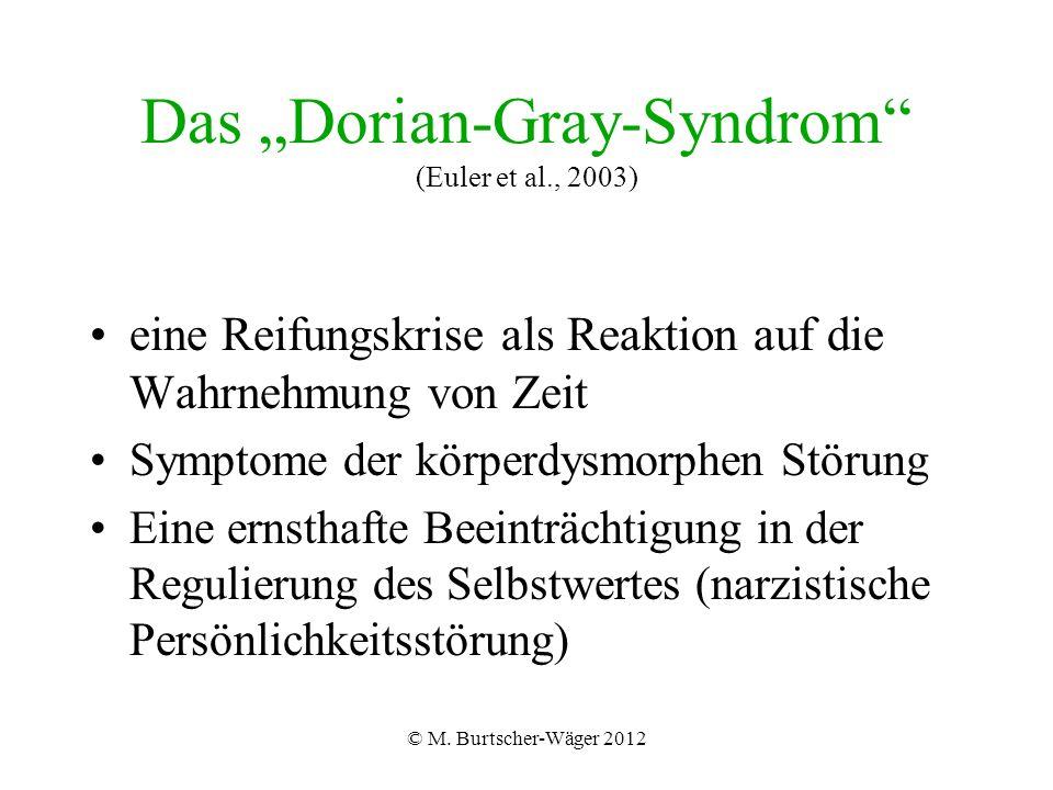 """© M. Burtscher-Wäger 2012 Das """"Dorian-Gray-Syndrom"""" (Euler et al., 2003) eine Reifungskrise als Reaktion auf die Wahrnehmung von Zeit Symptome der kör"""