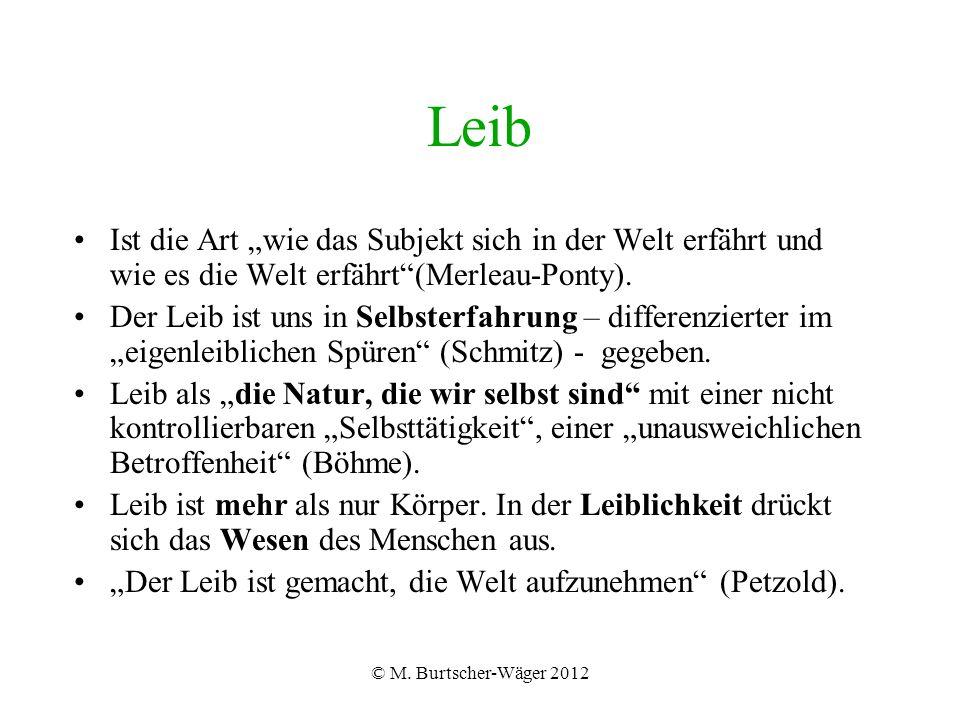 """© M. Burtscher-Wäger 2012 Leib Ist die Art """"wie das Subjekt sich in der Welt erfährt und wie es die Welt erfährt""""(Merleau-Ponty). Der Leib ist uns in"""