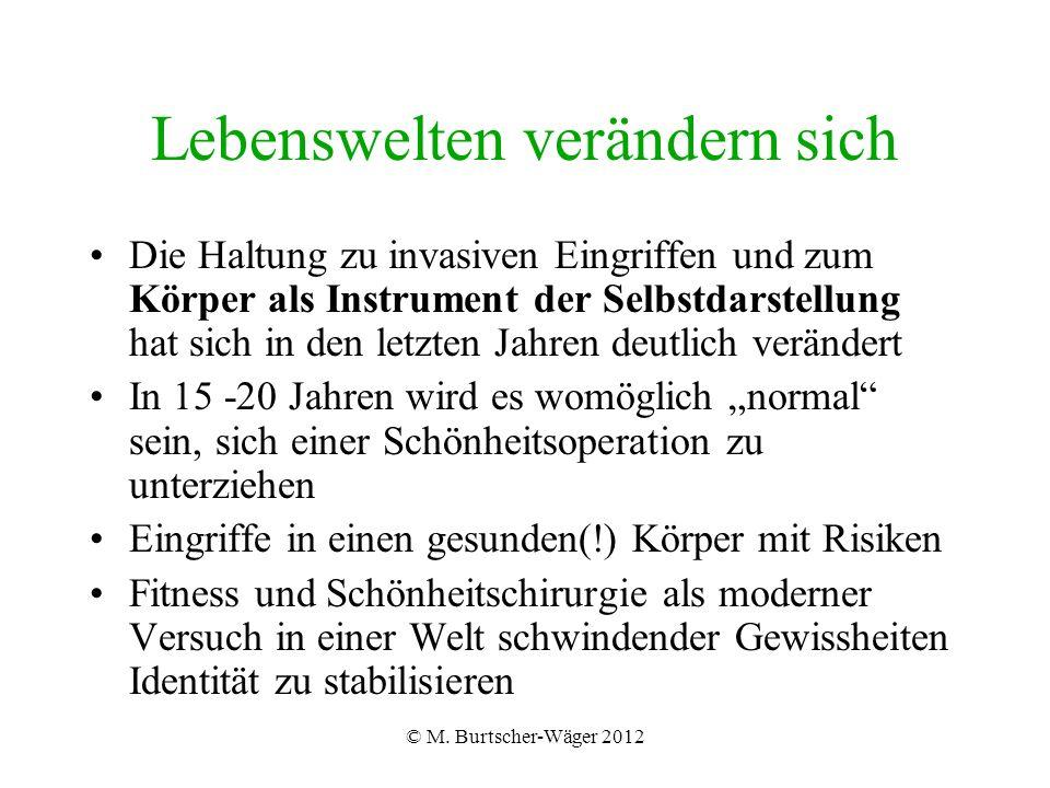 © M. Burtscher-Wäger 2012 Lebenswelten verändern sich Die Haltung zu invasiven Eingriffen und zum Körper als Instrument der Selbstdarstellung hat sich