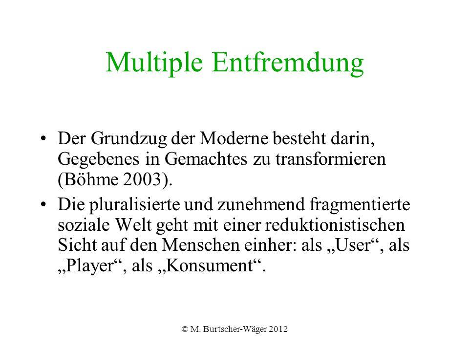 © M. Burtscher-Wäger 2012 Multiple Entfremdung Der Grundzug der Moderne besteht darin, Gegebenes in Gemachtes zu transformieren (Böhme 2003). Die plur