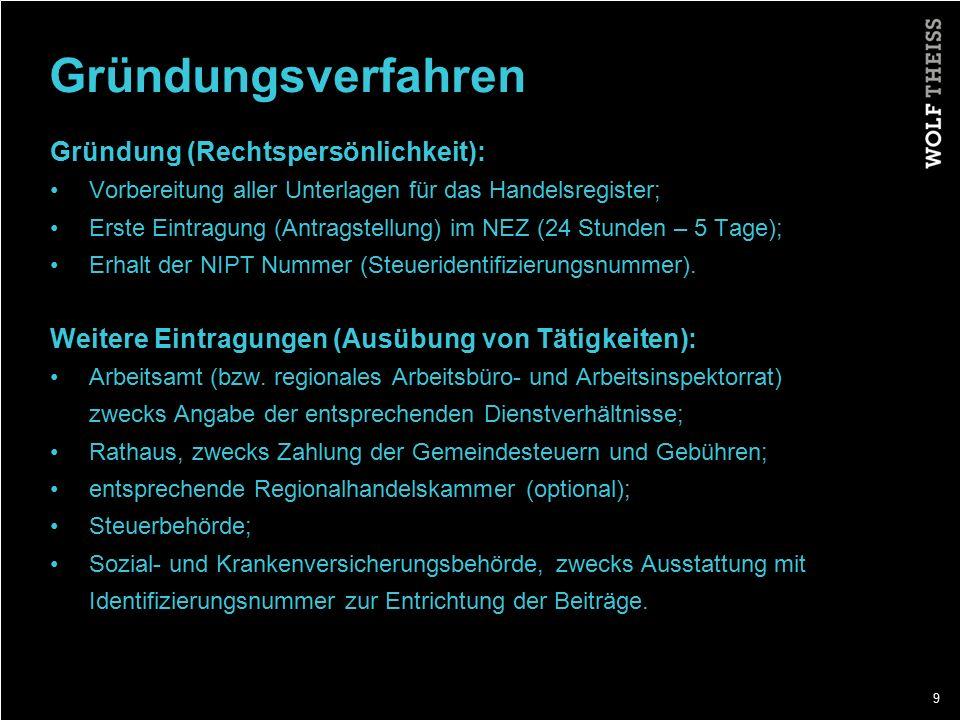 10 Kosten Zur Gründung: Gründungsgebühr im NEZ ALL 100 (weniger als EUR 1) Notariatskosten ca.