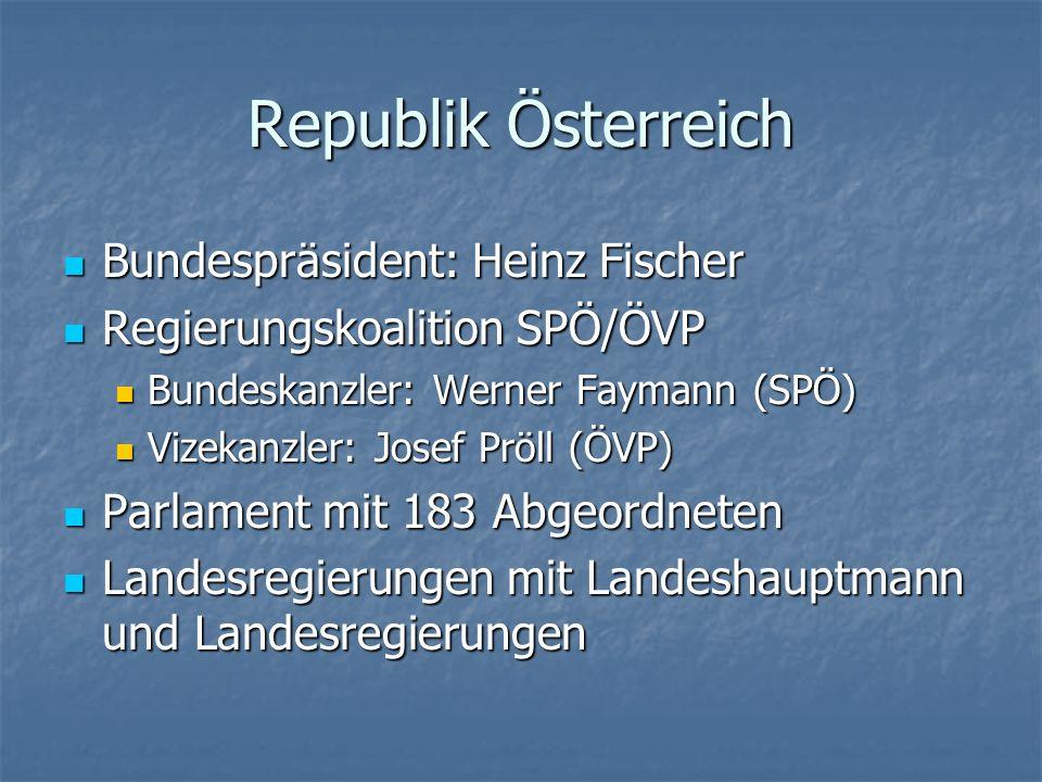 Republik Österreich Bundespräsident: Heinz Fischer Bundespräsident: Heinz Fischer Regierungskoalition SPÖ/ÖVP Regierungskoalition SPÖ/ÖVP Bundeskanzle