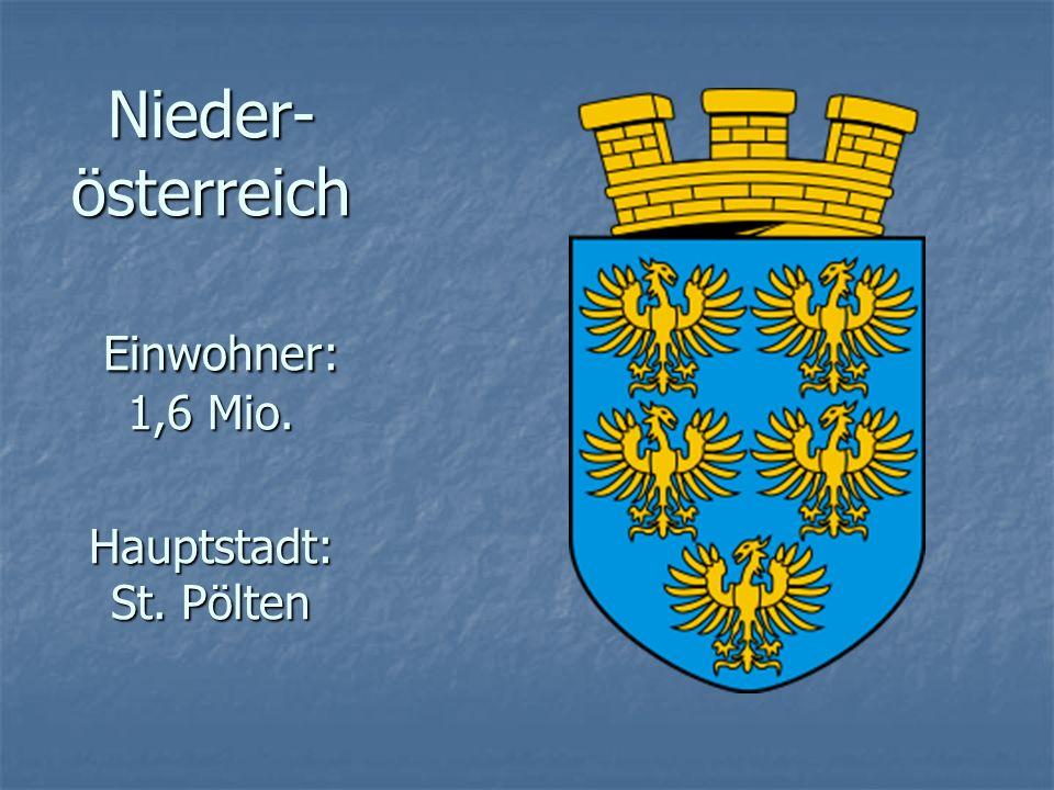 Nieder- österreich Einwohner: 1,6 Mio. Hauptstadt: St. Pölten