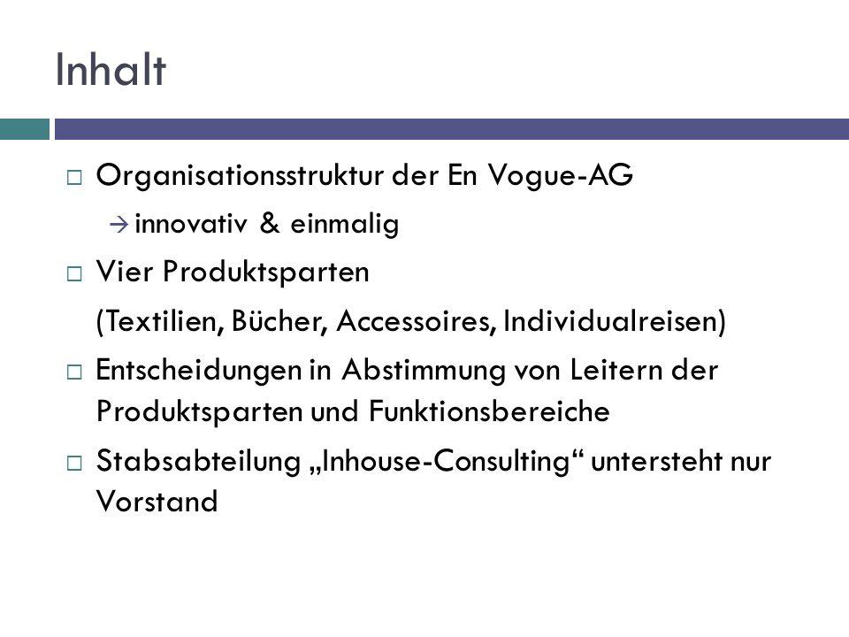 Inhalt  Organisationsstruktur der En Vogue-AG  innovativ & einmalig  Vier Produktsparten (Textilien, Bücher, Accessoires, Individualreisen)  Entsc