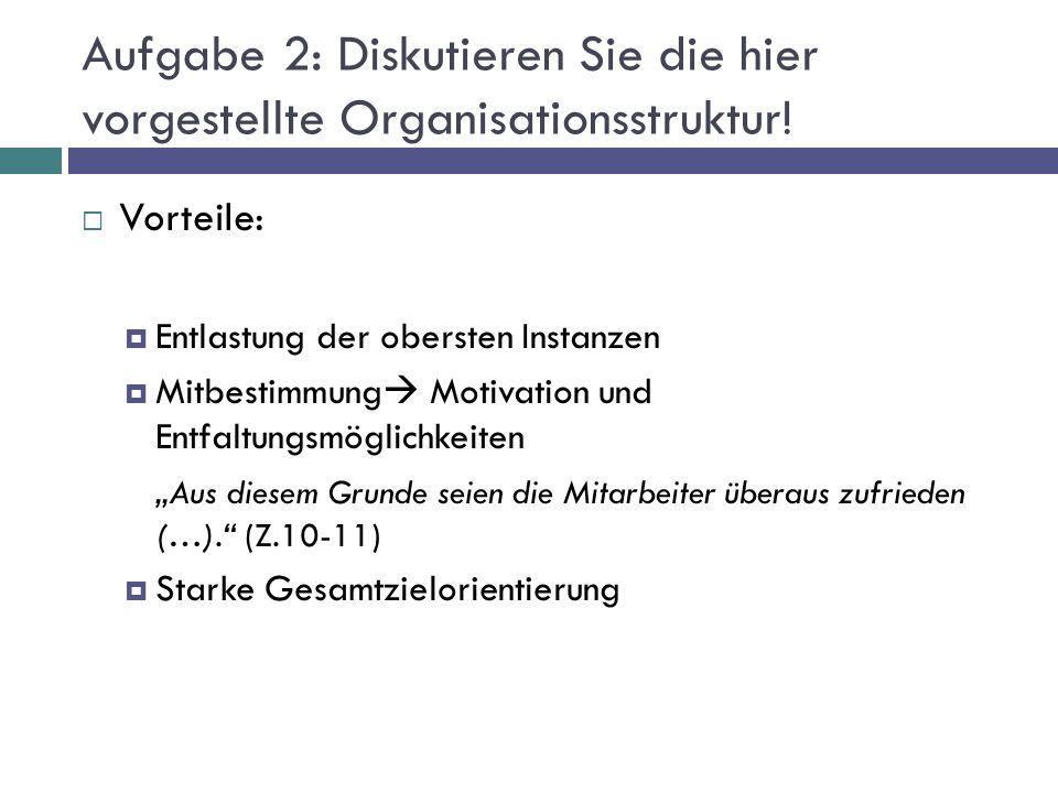 Aufgabe 2: Diskutieren Sie die hier vorgestellte Organisationsstruktur!  Vorteile:  Entlastung der obersten Instanzen  Mitbestimmung  Motivation u