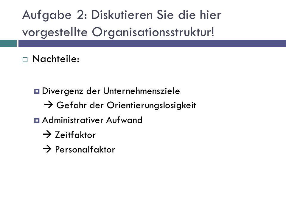 Aufgabe 2: Diskutieren Sie die hier vorgestellte Organisationsstruktur!  Nachteile:  Divergenz der Unternehmensziele  Gefahr der Orientierungslosig