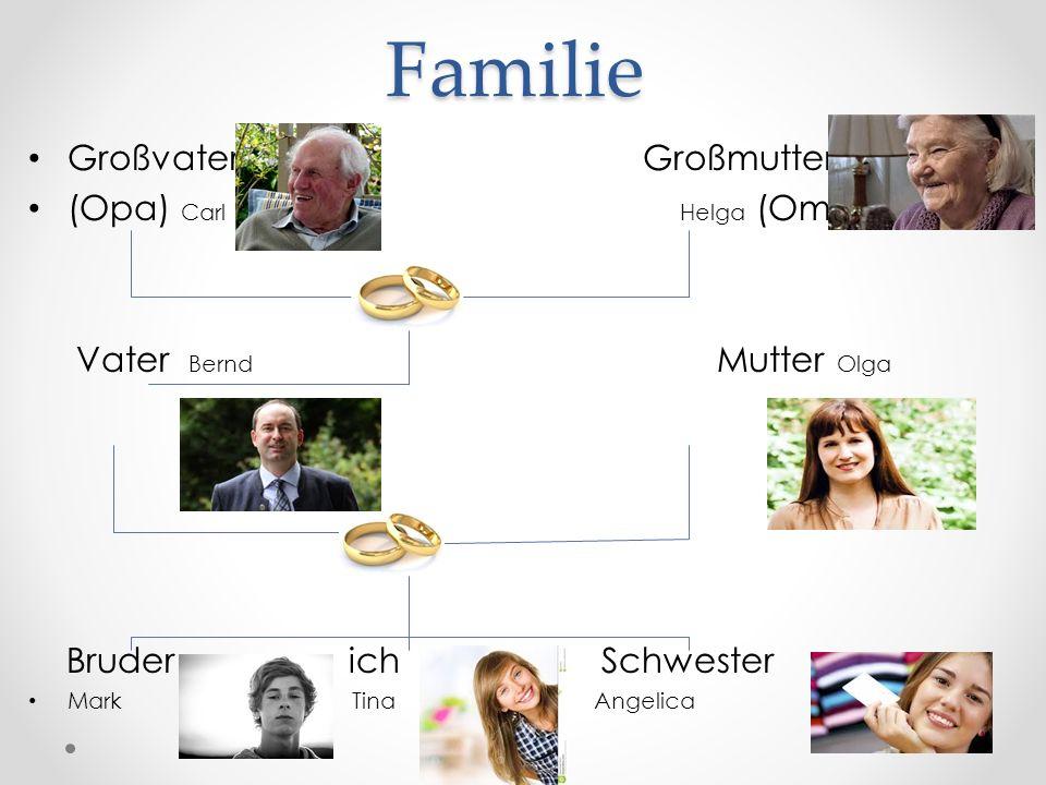 Familie Großvater Großmutter (Opa) Carl Helga (Oma) Vater Bernd Mutter Olga Bruder ich Schwester Mark Tina Angelica